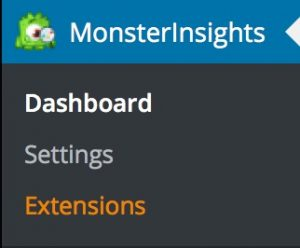WordPress Menü des MonsterInsights Plugins