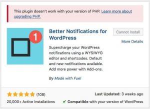 Meldung wenn die PHP-Version nicht passt.