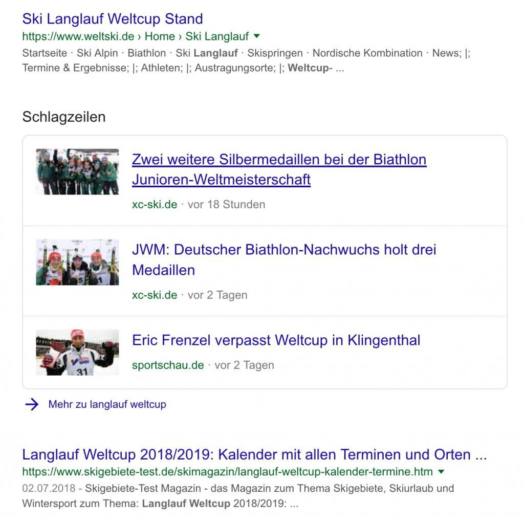 Beispielauszug aus der Google-Suchtrefferliste mit Schlagzeilen die durch Strukturierte Daten entstanden sind.